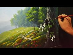 Acrylic Landscape Painting Lesson - Garden and Orchids by JMLisondra - YouTube