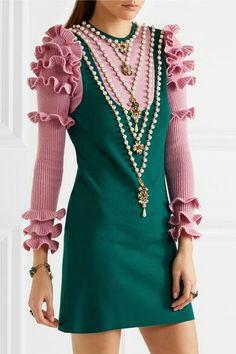 GUCCI  Embellished wool-blend mini dress