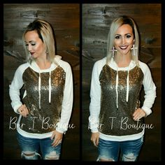 Ivory Gold Sequin Hoodie ~ Follow @bar_t_boutique on Instagram to Shop Weekly New Arrivals!