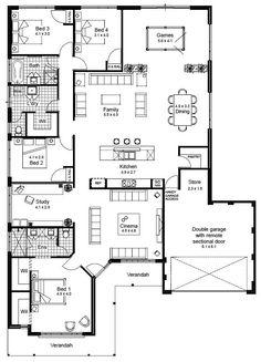 Floor plan 4 bedroom, 4 bedroom house plans, new house plans, dream hou Floor Plan 4 Bedroom, 4 Bedroom House Plans, House Plans One Story, Best House Plans, Dream House Plans, Modern House Plans, Small House Plans, House Floor Plans, Plans For Houses