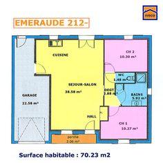 plan maison plein pied 2 chambres | plan maison en 2019 | House plans, House et New homes