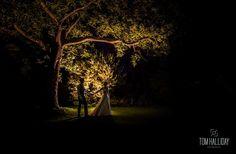 Fairytale wedding photography - Tom Halliday Photography - vintage style wedding - UK wedding photography - rustic quirky vintage wedding - country wedding - night time photography - lit up tree - romantic wedding shot