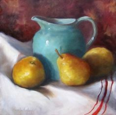 Oil Painting Still Life Pears and Turquoise by ChatterBoxArt