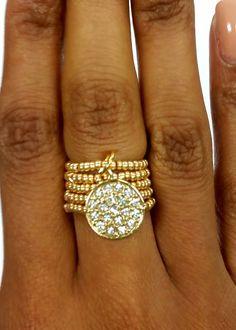 Gold Rhinestone Disc Beaded Stretch Ring by RandRsWristCandy