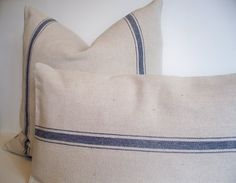 Farmhouse Pillow Blue Grain Sack Pillow Cover Blue by linenandoak