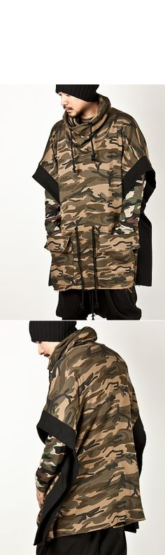 Outerwear :: Coats :: Avant-garde Top Quality Unique Turtle-neck Poncho Coat - 25 - New and Stylish - Fast Mens Fashion - Mens Clothing - Pr...