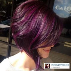Natural level 4 then foiled her sides and angled my foils /longer towards the back/ and put a 44/65 with a 20 on her base. Shampoo and conditioned Wella brilliance. Applied a mixture of pravana & manic panic purples over the entire head after it had been dried.