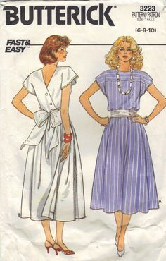 Retro Fashion Butterick Sewing Pattern Boat Neck Dress Full Flared Skirt Back Wrap Closing Big Bow Sash Cap Sleeves Bust 34 36 38 Vintage Dress Patterns, Clothing Patterns, 80s Fashion, Vintage Fashion, Patron Vintage, Retro Mode, Boat Neck Dress, Flare Skirt, Vintage Outfits