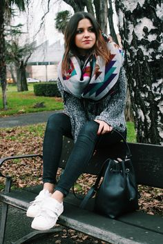 Tribal scarf, jeans and sneakers. #winter #outfit