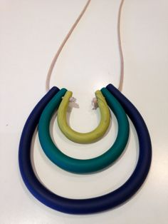 Blue, Green & Yellow Fimo Necklace