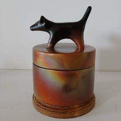 Golden handmade Dog Urn Handmade Copper, Handmade Ceramic, Small Black Dog, Dog Urns, Dog Memorial, Dachshund Dog, Golden Dog, Sculpting, Rainbow Colors