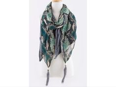 Check out B27 Reptile Print 2 Layer Blue Green Teal Heather Stretch Natural Feather Scarf on Threadflip!