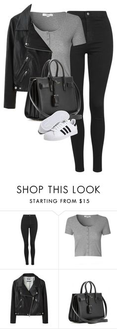 """""""Untitled #1170"""" by lovetaytay ❤ liked on Polyvore featuring Topshop, Glamorous, Acne Studios, Yves Saint Laurent and adidas"""