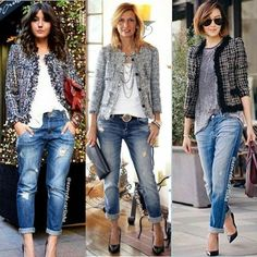 Womens fashion over 40 dresses boyfriend jeans 54 Ideas Boyfriend Jeans Outfit, Outfit Jeans, Blazer Outfits, Jean Outfits, Casual Outfits, Summer Outfits, Tweed Blazer Outfit, Jeans Outfit For Work, Dress Up Jeans