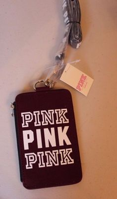 Pink Victoria's Secret ID Card Holder Lanyard Wallet Limited Edition Maroon NEW #VictoriasSecretPINK