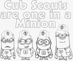 Cub Scout Minions PRINTABLE Coloring Page from Despicable Me - This site has a lot of great neckerchief slide ideas and also other great Cub Scout Ideas compliments of Akela's Council Cub Scout Leader Training