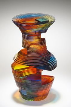Gorgeous art glass vase shape. Sidney Hutter makes his art using ultraviolet adhesives and plate glass.