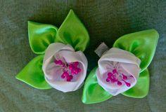 Flor   de  fitas  em  cetim com pistilhos   Passo a Passo