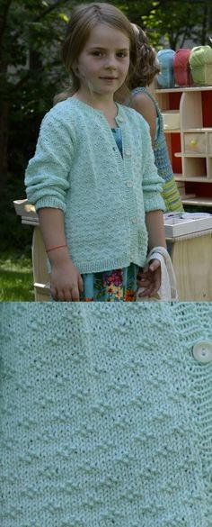Girls Cardigan Free Knitting Pattern With Pretty Yoke And Matching