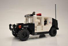 Custom City Police Hummer HMMWV suv truck military vehicle humvee model built with real LEGO (R) bricks