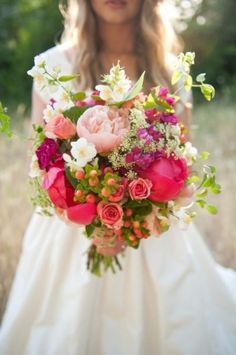 Too much bright pink but love the bouquet. Peonies, roses, wildflowers berries - the perfect Spring wedding bouquet! Bouquet Bride, Pink Bouquet, Bridal Bouquets, Bouquet Wedding, Bouquet Flowers, Spring Wedding Bouquets, Country Wedding Bouquets, Rustic Bouquet, Spring Weddings
