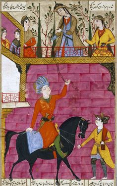 Zal meets Rudaba, from the famous 14th century Persian epos Shahnama. The scene resembles the fairytale of Rapunzel.