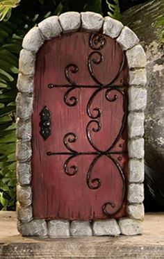 Fairy Door Red - use black puffy paint for hinges