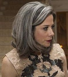 Image result for grey hair ash brown lowlights