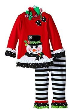 Boutique Clothing Girls Christmas Outfit Snowman Clothing Set 3T Bow >>> Click on the image for additional details. (This is an affiliate link)