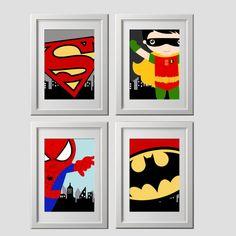 4 grabados enviados a su puerta superhéroe pared arte