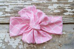 Headwrap  Baby Headwrap  Pink White  Big Bow by TrueNorthClothingC