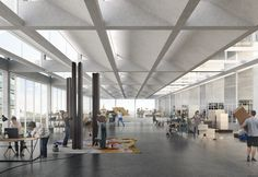 Serie Architects has released its proposal for the Royal College of Art's (RCA) campus in Battersea, London. Designed for the campus'. Mediterranean Architecture, Tropical Architecture, Light Architecture, School Architecture, Architecture Design, Hall Interior, Interior Exterior, Arch Light, Architects London