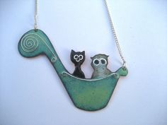 The Owl and the Pussycat enamelled necklace by maggiejonesenamels, $65.00