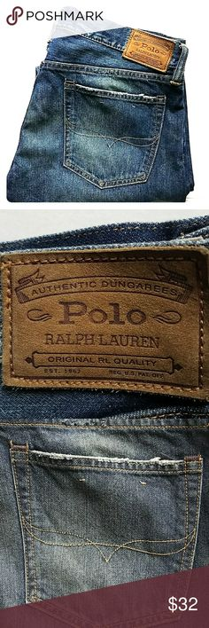 [Polo Ralph Lauren]Dungarees 34/32 Pre-loved, Polo Ralph Lauren dungarees Hampton straight Style median rinse.  #PoloRalphLaurenjeans Polo Ralph Lauren Jeans Straight