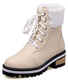 3b43c713335b IDIFU Womens Comfy Mid Chunky Heels Platform Fleece Lined Lace Up Ankle  High Martin Snow Boots Beige 8 BM US     Check out this great product.
