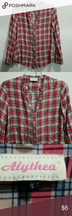 Plaid Button Down Light material  Red and blue  Pearl/shell like buttons Size Small  Brand is Alythea Alythea Tops Button Down Shirts