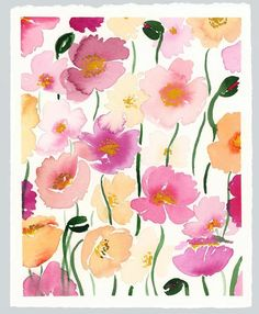 """Possible titles for this piece: """"Poppies Poppies Everywhere,"""" """"Back by Poppylar Demand"""" or my favorite, """"Hot Poppy Mess. Botanical Drawings, Botanical Prints, Flower Drawings, Art Hub, Watercolor Sketchbook, Cow Painting, Happy Flowers, Pink Flowers, Plant Drawing"""
