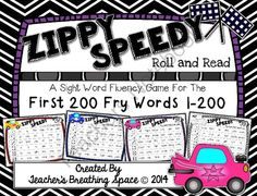 Fry Words 1-200 --- Zippy Speedy Roll And Read --- Sight Word Fluency Game from Teacher's Breathing Space on TeachersNotebook.com -  (23 pages)  - Fry Words 1-200 --- Zippy Speedy Roll And Read --- Sight Word Fluency Game