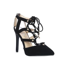 Coshare Fashion Women's Mid Heel Strappy Cut Out Lace Up Pointy Toe Dress Pumps -- Don't get left behind, see this great  product : Lace up sandals