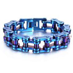 """Mens Hip Hop Blue Color Stainless Steel Motor Biker Link Bracelet 19Mm9"""""""