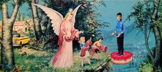 In 're-directed paintings', artist David Irvine finds old or discarded thrift store paintings and adds recognizable characters into them. Old Paintings, Colorful Paintings, Thrift Store Art, Thrift Stores, Nova, Artist Life, Pop Surrealism, Old Art, Sci Fi Art