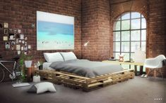 Sims 4 CC's - The Best: Wooden Pallets by Alachie and Brick Sims