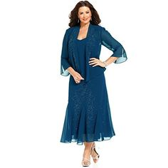 LANSITINA Women s Embellished Tea-Length Chiffon Mother Of The Bride Dresses  With Jacket(22 0b4f76618