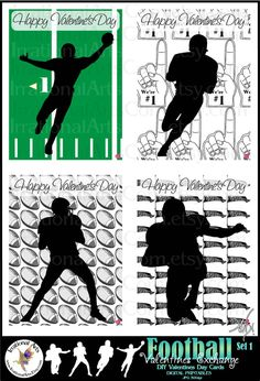 INSTaNT DOWNLOaD Football Valentines Day Cards by IrrationalArts, $2.95