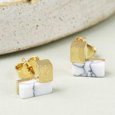 094b7782f4c Gold and White Marble Chevron Stud Earrings Geometric Jewelry, Lisa Angel,  White Marble,