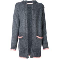Marni oversized cardigan (€1.595) ❤ liked on Polyvore featuring tops, cardigans, grey, grey cardigan, grey open front cardigan, gray cardigan, grey top and marni
