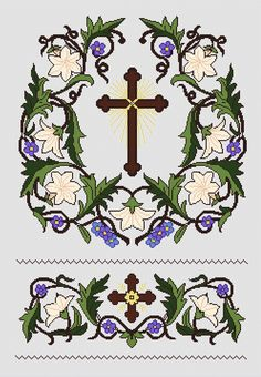 The lily of the Virgin Ecclesiastical Design embroidery Cross