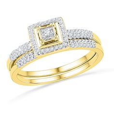 I don't really like the gold setting, but I dig this.1/4 CT. T.W. Diamond Square Frame Bridal Set in 10K Gold