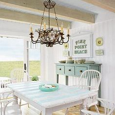 House of Turquoise: Coastal Living Idea Cottage Striped table top. Beach Cottage Style, Beach Cottage Decor, Coastal Cottage, Cottage Chic, Coastal Decor, Coastal Style, Coastal Colors, White Cottage, Seaside Style