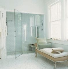 love the garden bench in the shower - totally clever. And adore the chaise as well as the entire wall of glass.